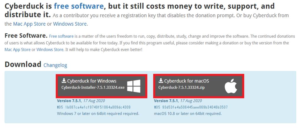 Cyberduckダウンロード選択画面(Windows/macOS)