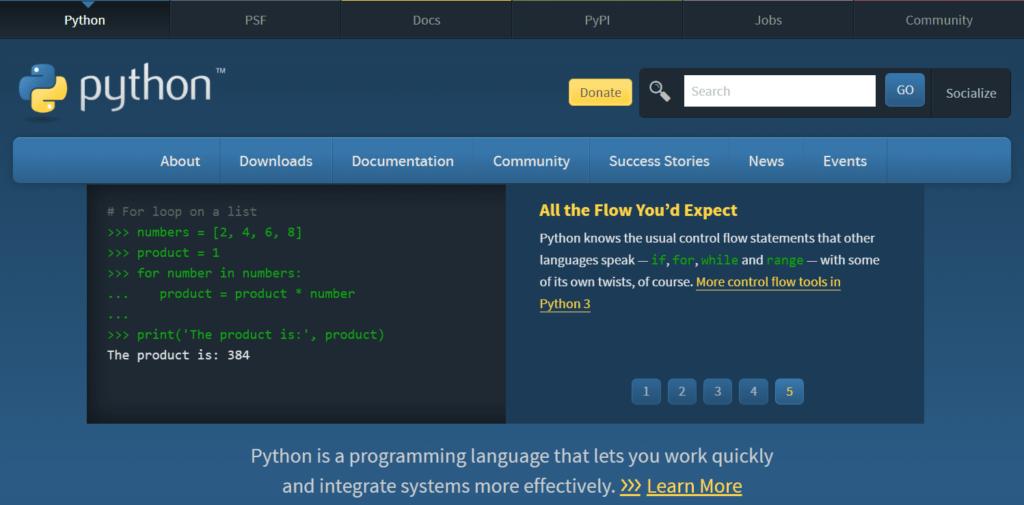 図1 Python公式ページ①